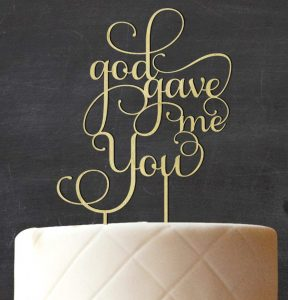 Wordy wedding cake topper