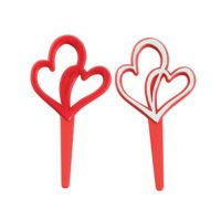 Valentine double hearts cupcake topper