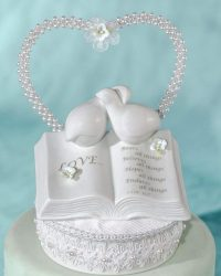 Dove and bible wedding cake topper